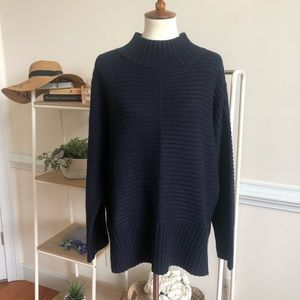 Topshop navy ribbed mock neck heavy sweater
